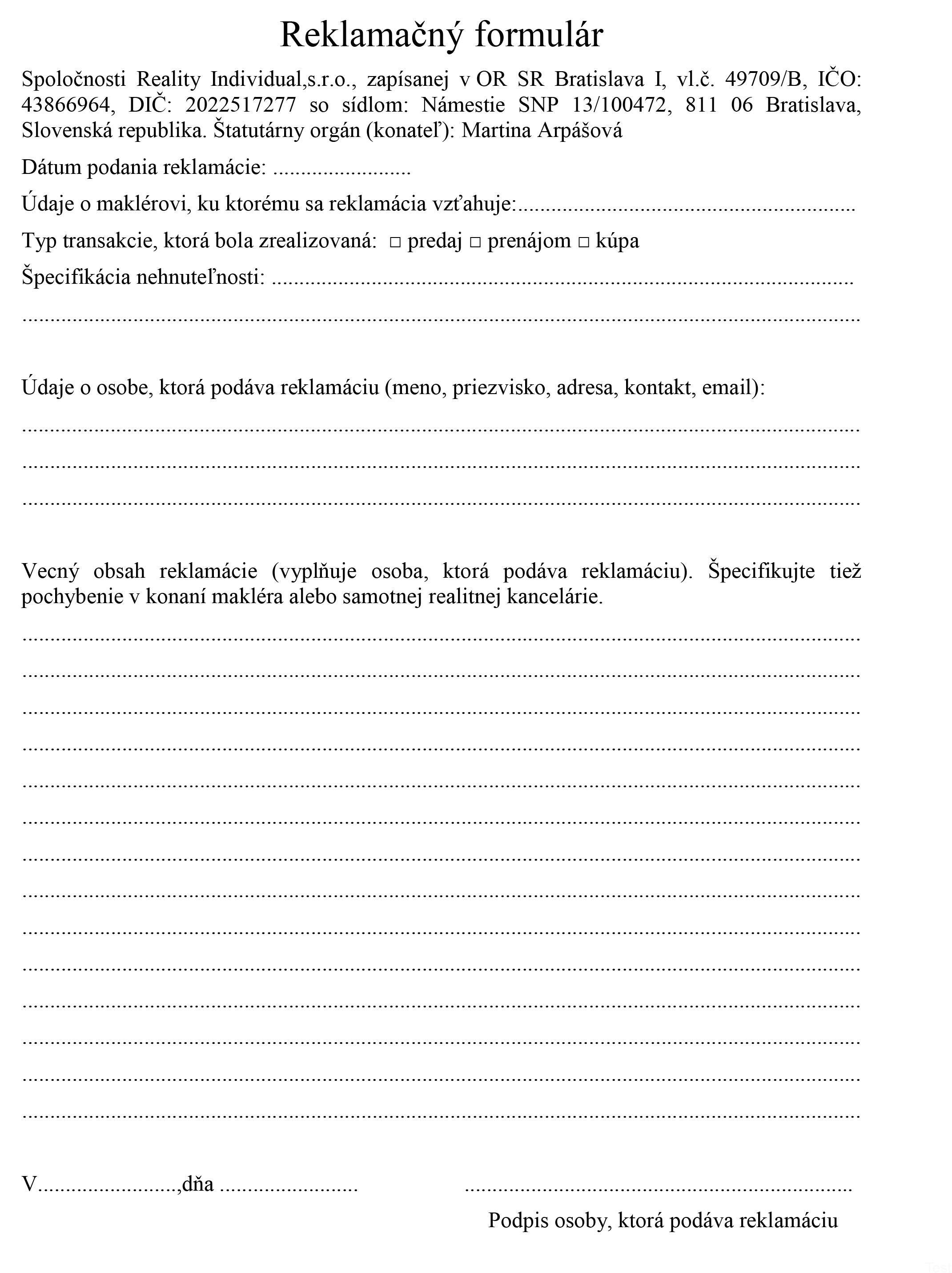 reklamacny formular